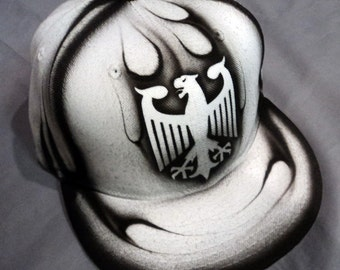 Airbrushed German Eagle Snapback Hat Hand Painted airbrush