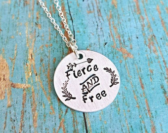 Fierce and Free Necklace - Fierce - Free - Inspirational Jewelry - Motivational Jewelry - She is Fierce - Statement Necklace - Gift for Her