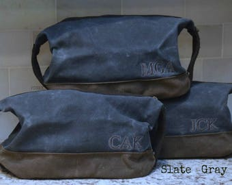 Personalized Toiletry Travel Bag for Men / Waxed Canvas Graduation gift / FREE SHIPPING