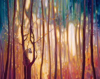 Print on canvas - Burning Bright - A tiger in a glowing forest