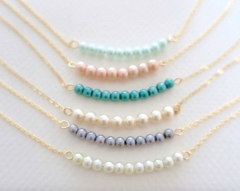 Pearl Bar Necklace for Bridesmaids Grey Pearl Necklace Blush Necklace Wedding Jewelry, Simple Wedding Necklace, Gold Fill Sterling Janelle