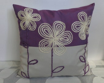 "Decorative pillow pillowcase with embroidered flowers and buttons  40x40cm (16""x16"")"