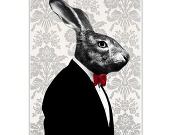 Rabbit Bunny Print, Rabbit Art Print, Rabbit Print, Rabbit Art, Bunny Print, Rabbit Wall Art, Black, Grey, 8x10, Wall Decor, Men, Art Print