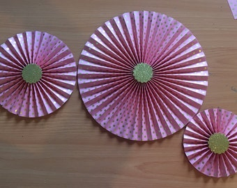 3 pink and gold paper rosette backdrop pink and gold foil paper fan /pinwheel / wedding / birthday / anniversary / baby / wall table decor
