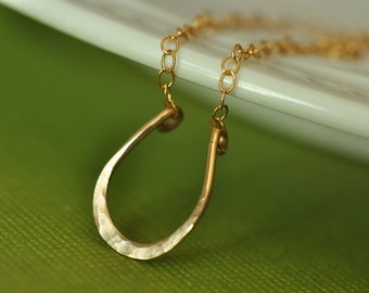 Lucky Horseshoe hand forged 14K gold filled necklace