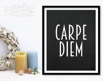 Carpe Diem Printable Art - Black and White Chalkboard Sign Home Decor - Seize the Day Inspirational Quote, Carpe Diem Print Motivational Art