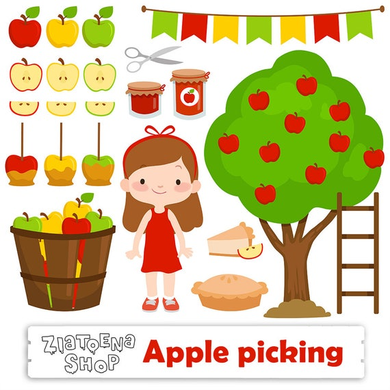 apple picking clipart apple clip art orchard clipart harvest rh etsy com apple picking basket clipart Clip Art of Apple's