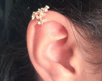 Alloy Leaf Cuff Earrings, Crystal Earrings