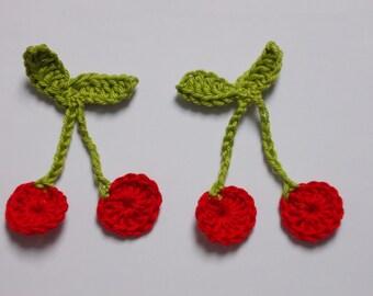 2 pairs red cherries - crochet
