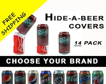 14 PACK Hide A Beer Can Soda Covers Camo Wrap Sleeve Disguise Drinking Game Golf Boating Fishing Tailgating Pool