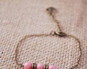 Tiny beaded bracelet, pink beads bracelet, delicate thin bracelet,  bridesmaid gift bracelet, everyday bracelet