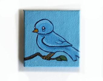 Blue Bird Painting Miniature - Original Tiny Wall Art Acrylic on Mini Canvas 2 x 2 Inches by Karen Watkins - Bluebird Tiny Art