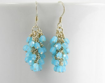 Aqua Blue Dangle Earrings with Sterling or Surgical Steel Ear Wires, Aqua Cluster Earrings