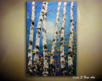"""Birch Forest Painting, 36""""  Blue Gold Painting, Palette Knife, Birch Tree Art, Aspen Tree Art, Home Wall Decoration, Large Art  by Nata S."""