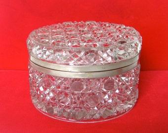 Antique Cut Glass Round Box