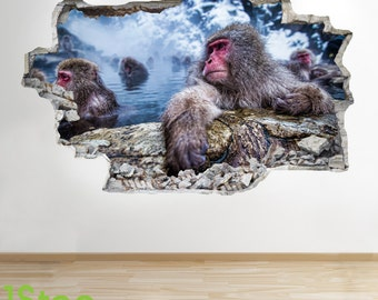 Snow Monkey Wall Sticker 3d Look - Bedroom Lounge Nature Animal Wall Decal Z183