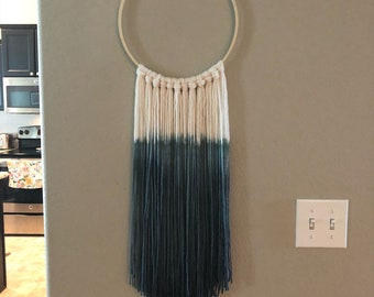 Handmade dip-dyed yarn wall hanging