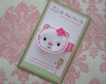 Girls hair clip - girls White kitty hair clip - toddler hair clip - baby hair clip - no slip hair clip