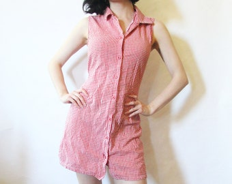90s Button Up Gingham Dress S