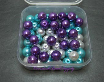 Glass Pearl Mix, Purple, Aqua Blue, White,  Mix Colors, Container Included, 8mm Glass Beads, 60 Pieces