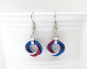 Red, white and blue chainmail Love Knot earrings, American patriotic jewelry