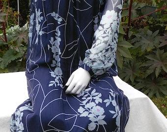 Formal Yves Paris Gown Dress Sheer Floral Silk Ascot Sash 1970s Vintage