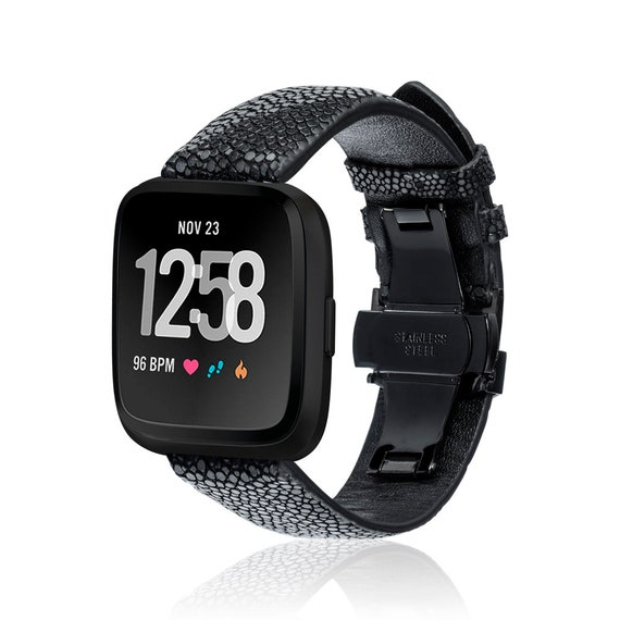 Watch Band for Fitbit Versa STINGRAY by fitjewels - black or blue - stainless steel