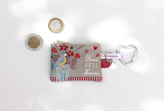 """Keyring / mini wallet in illustrious lin """"happy mother's day"""""""