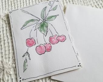 Handpainted watercolor cards, cherries