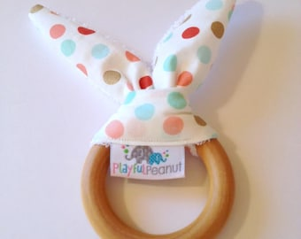 Teething Ring, Maple Teether, Bunny Teething Ring with Ears, Natural Teething Ring, Bunny Ear Teething Ring, Sparkly Dots