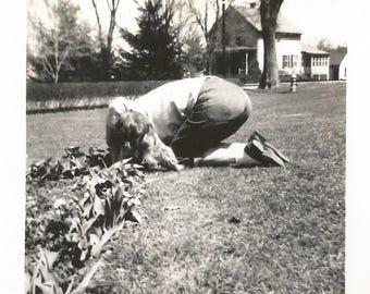 "Vintage Snapshot ""Shy Gardener"" Woman Kneeling Garden Found Vernacular Photo"