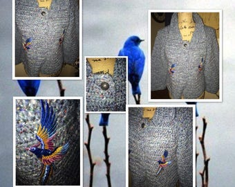 Blue Birds of Happiness Up-Cycled Hand Knit Cardigan,Blue Bird Appliques, Shorter Style, One Button, Blue Tweed, Wool Blend, Misses Medium