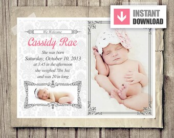 girl birth announcement template layered psd girl pink baby announcement design photo birth announcement instant download 5x7