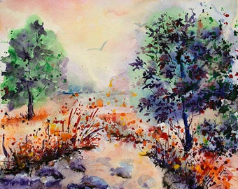 River painting 8 x 10 Watercolor landscape painting Original watercolor landscape painting River Art Watercolor Tree painting River painting