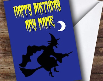 Witch Silhouette Personalised Birthday Card