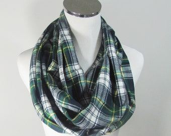 Green Infinity Scarf, Green  Plaid Infinity Scarf, Tartan Scarf, Plaid Scarf, Green Circle Scarf.