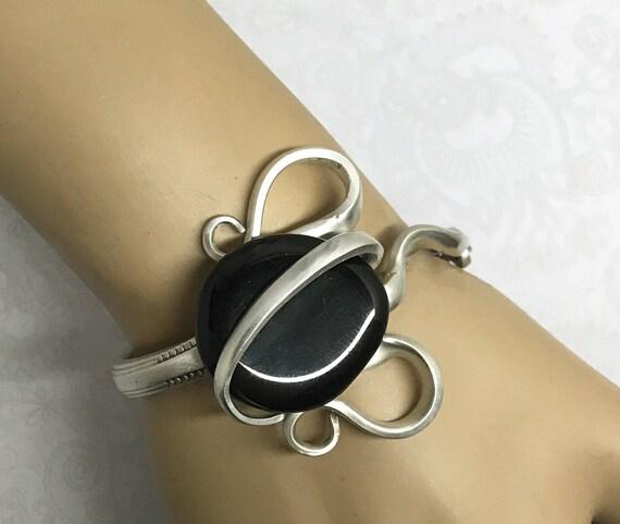 Fork Bracelet with Black Onyx Gemstone, Silverware Jewelry, Fork Jewelry