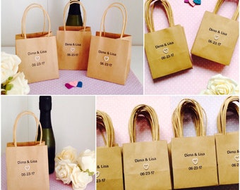 Personalised Wedding Favour Bags  -Packs of 10 - Rustic Wedding Favour Bags - Personalised Wedding Table Decorations Shabby Chic