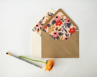 """rifle paper """"blushing rosa"""" lined envelopes / floral envelope liner / envelopes for wedding invitations / wedding envelopes / envelope liner"""