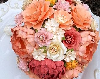 Paper Bouquet - Paper Flower Bouquet - Wedding Bouquet - Toss Bouquet - Peach and Coral - Custom Made - Any Color