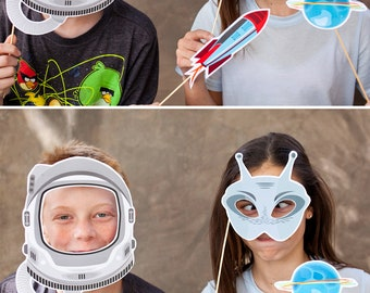 Space | Rocket Ship | Astronaut | Alien Printable PHOTO BOOTH PROPS - Editable Text >> Instant Download | Paper and Cake