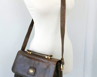 Vintage leather messenger Italian CESARE PICCINI 1960's Saddle bag Large crossbody bag Womens leather handbag Fashion designer bag