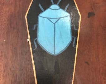 Handpainted Beetle Coffin Box - Wooden Stash Box
