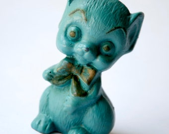 Creepy, Odd 1960s Blue Mouse Figurine