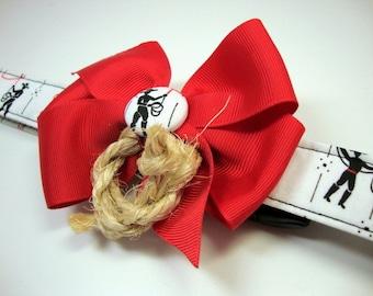 Cowboy Roping Star - White Red Black Cowboy Print Dog Collars Large