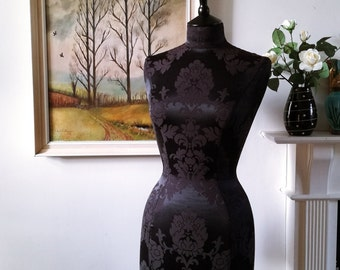 Home Decor Fabric Covered Display Mannequin Dressform Bust - Celia in Black