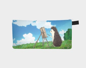 Hedgehog Zippered Pouch - Pencil Bag - Hedgehog Art Zippered Pouch - Hedgehog Painting and Flower Art - by Urchin Wear