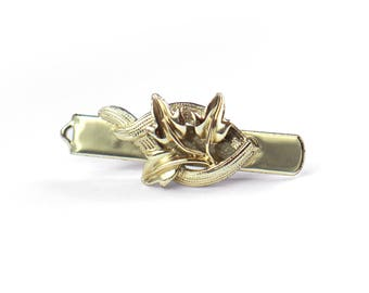 Pince à cravate or Vintage décoratif avec des feuilles