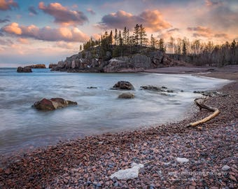 Lake Superior Landscape, Nature Photography, Beach Cloudy Sky, North Shore Minnesota, Fine Art Print, Blue Brown Orange, Serene, Healing Art