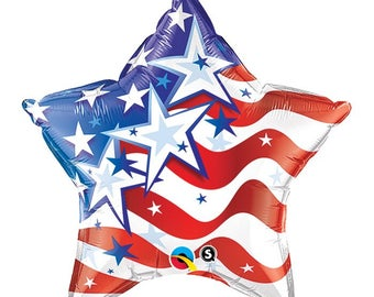 "Patriotic Mylar Star 20"", Stars and Stripes Balloon, American Star Balloon"
